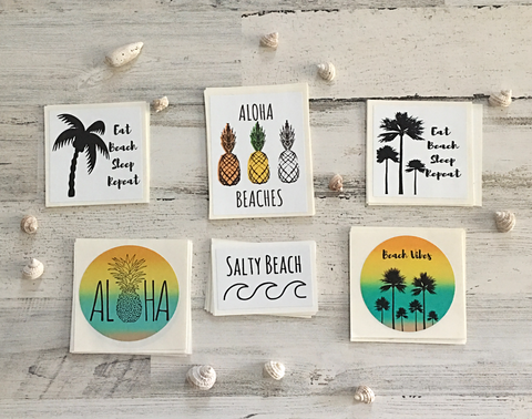 Beach Themed Sticker 4 Pack