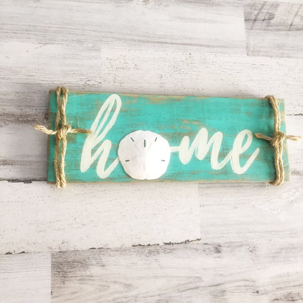 aqua sand dollar home sign - sablesol