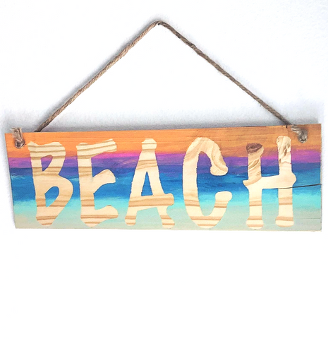 "wood ""beach"" sign - SableSol"
