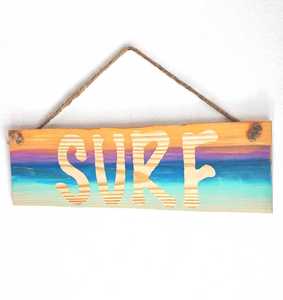 "wood ""surf"" sign"