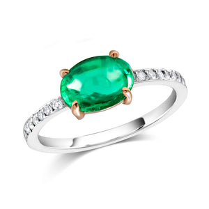 shop OGI Ltd cabochon emerald diamond cocktail ring