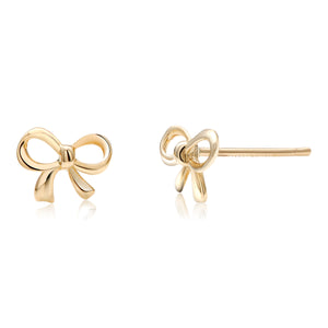 14 karat yellow gold bow earrings