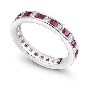 18 Karat Gold Ruby and Diamond Eternity Anniversary Ring - OGI-LTD