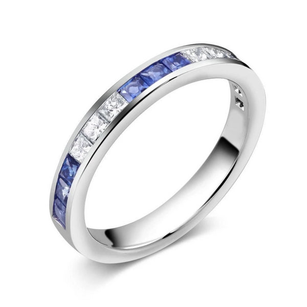 18k Gold Wedding Ring Alternating Princess Cut Diamonds and Princess Cut Sapphire - OGI-LTD