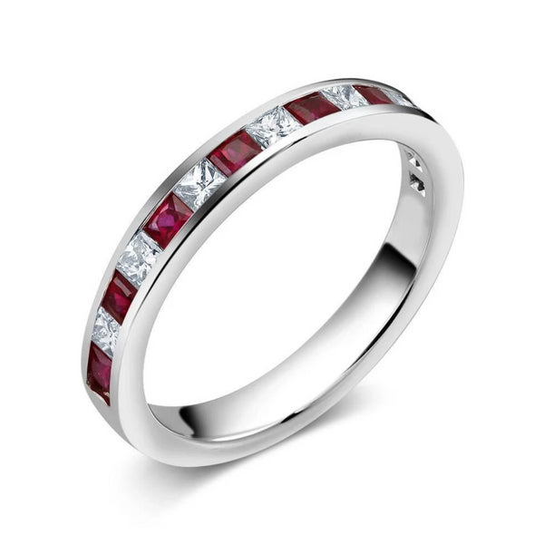 18 Karat Gold Princess Diamond Princess Ruby Partial Wedding Band - OGI-LTD