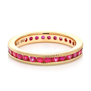 18 Karat Rose Gold Ruby Eternity Band with Milgrain Edge Weighing 1.90 Carat - OGI-LTD