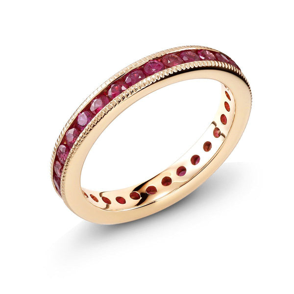 18 Karat Rose Gold Ruby Eternity Band Milgrain Edge - OGI-LTD