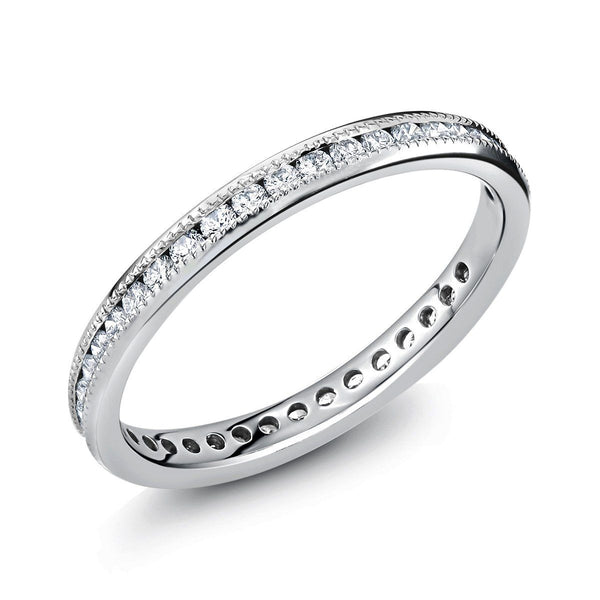 Platinum Diamond Milgrain Eternity Wedding Band - OGI-LTD