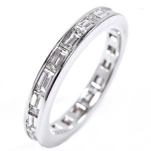Platinum One Carat Diamond Engagement with  Baguette Diamond Sides - OGI-LTD