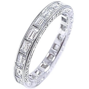 Platinum Engagement Baguette Diamond  Ring Ready for 1.50 Carat Center - OGI-LTD