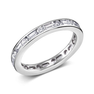 Platinum Baguette Diamond Alternating Round Diamond  Eternity Ring - OGI-LTD