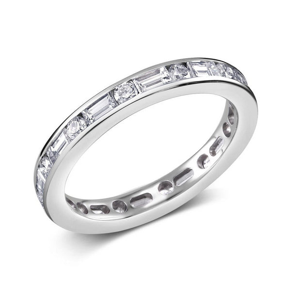 Platinum Baguette Diamond Alternating Round Diamond Eternity Band - OGI-LTD