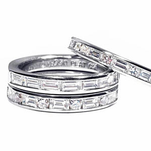 Baguette Diamond Alternating Princess Diamond Partial Wedding Ring - OGI-LTD