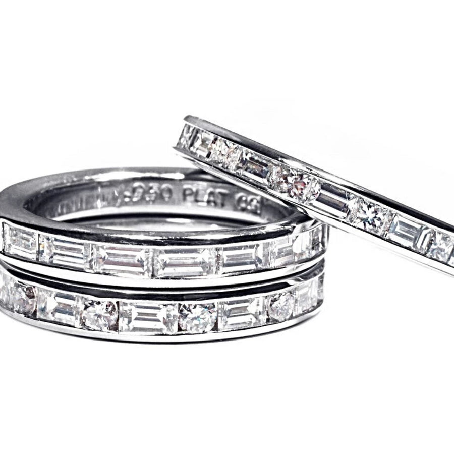 A Platinum Eternity Wedding Ring with Baguette Diamond