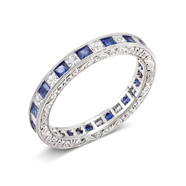 18 Karat Sapphire Diamond Hand Engraved Band - OGI-LTD