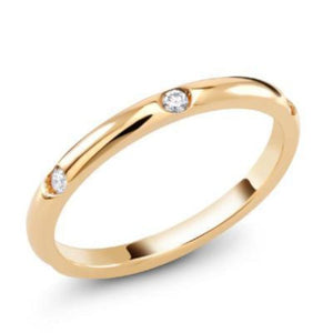 Rose Gold Micro Pave Diamond 2mm Wedding Ring - OGI-LTD