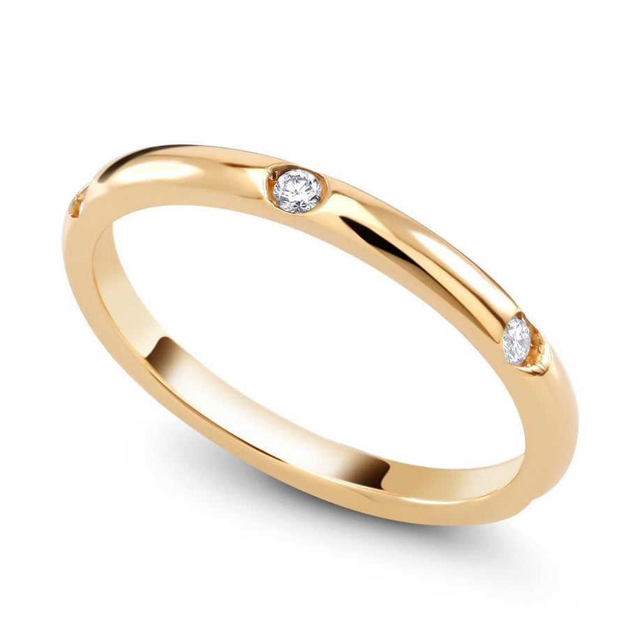 A Rose Gold Micro Pave Diamond Wedding Ring - OGI-LTD