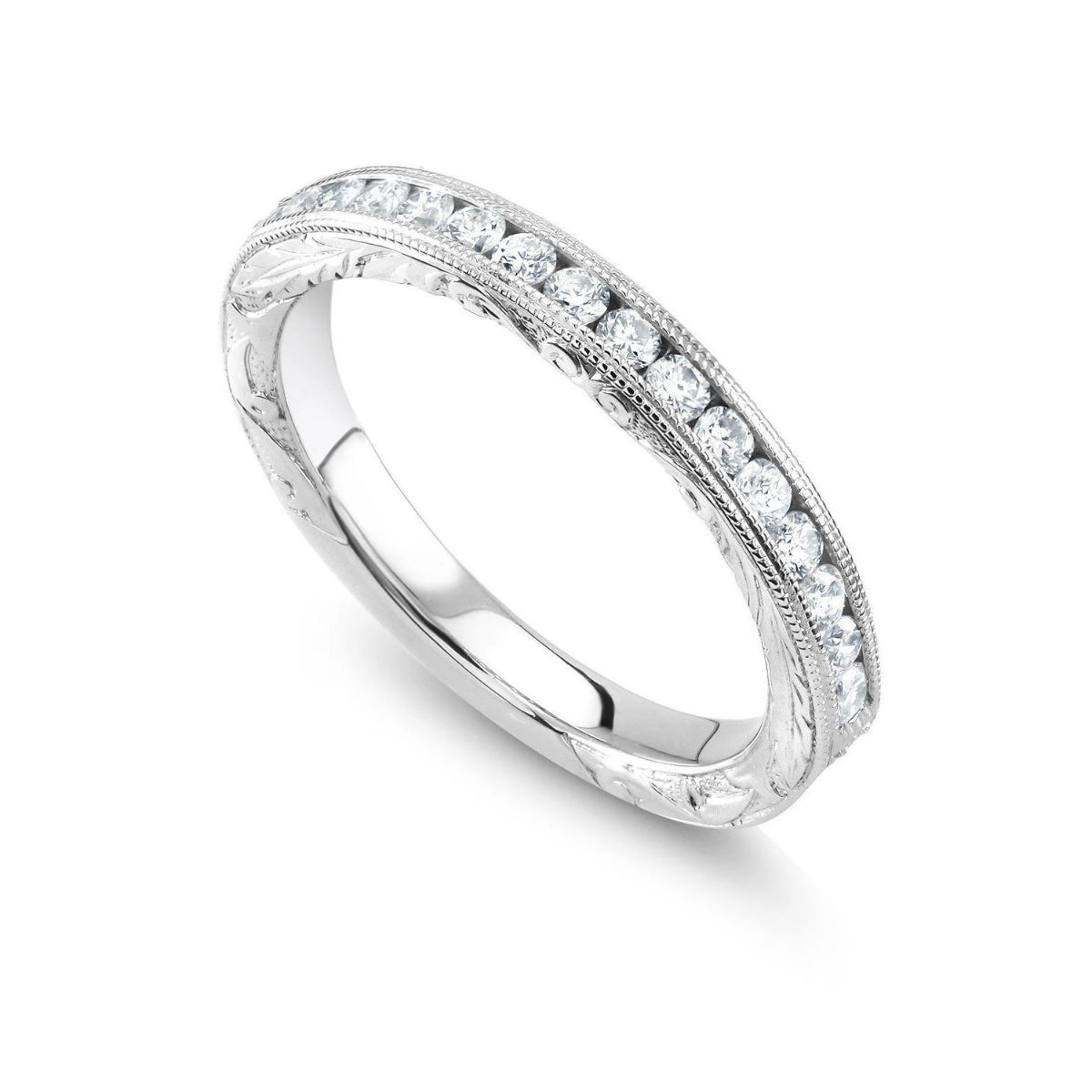 White Gold Round Diamond Wedding Band with Old Master Hand