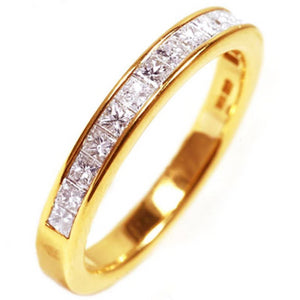 18 Karat Gold Princess Diamond Partial Wedding Band - OGI-LTD
