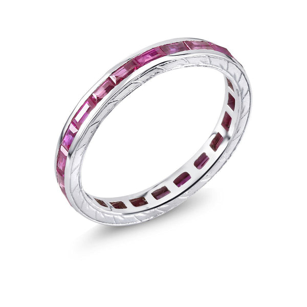 18 Karat Gold Baguette Ruby Eternity Engraved Band - OGI-LTD