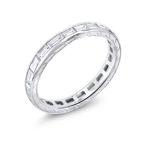 Platinum Baguette Diamond Engraved Eternity Wedding Band - OGI-LTD