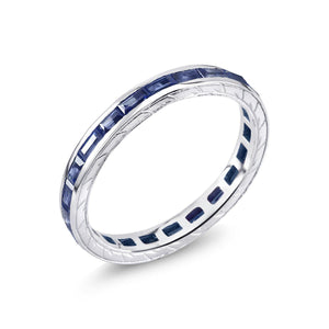 18 Karat Gold Baguette Sapphire Eternity Engraved Band - OGI-LTD