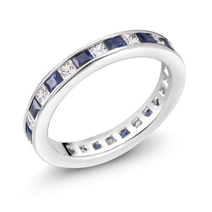 Diamonds and Princess Cut Sapphire Gold Eternity Ring - OGI-LTD