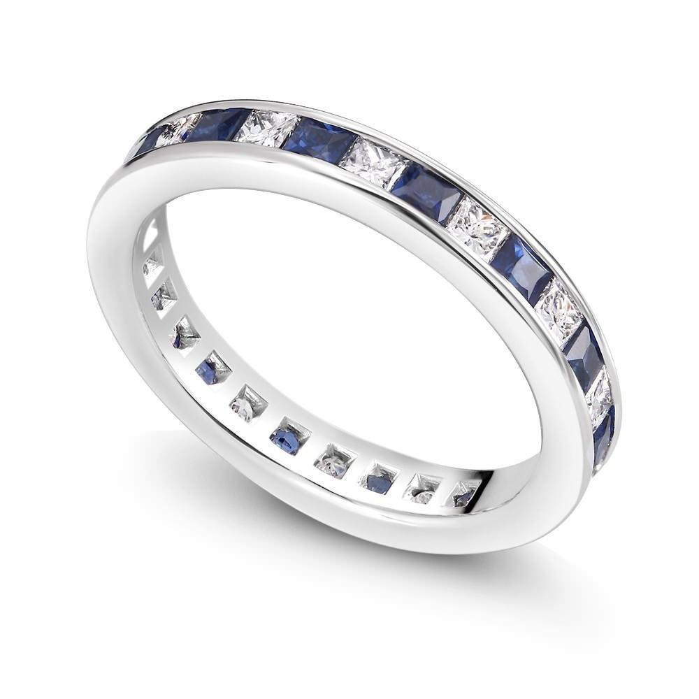 ring wedding bands anniversary three band tcw wedandetails blue sapphire cfm row diamonds