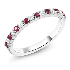 18 Karat Gold Prong Set Ruby Diamond Wedding Ring - OGI-LTD