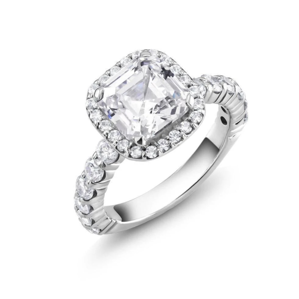 radiant stone elongated halo setting pin engagement cut cushion perfection ring rings