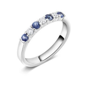White Gold Diamond Sapphire Partial Band - OGI-LTD