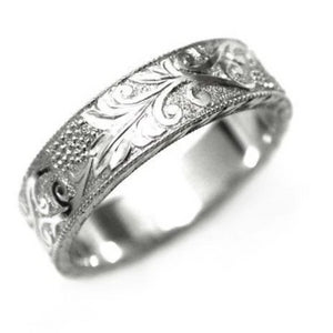 Platinum Old Master Hand Engraved Wide Wedding Band - OGI-LTD