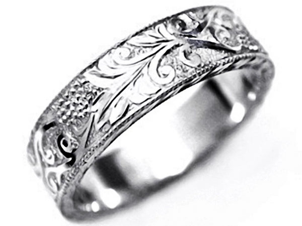 Platinum Old Master Hand Engraved 5M Wedding Band - OGI-LTD