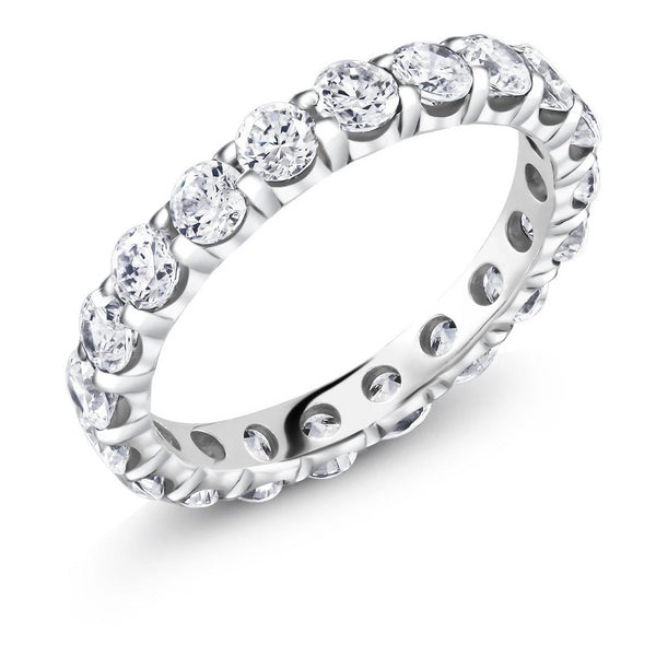 Platinum Prong Set Two Carat Diamond Eternity Wedding Ring - OGI-LTD