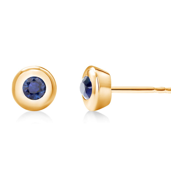 White Gold Bezel Set Sapphire Stud Earrings Weighing 0.30 Carat