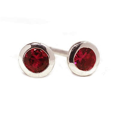 14 Karat White Gold 3 millimeter Ruby Stud Earrings