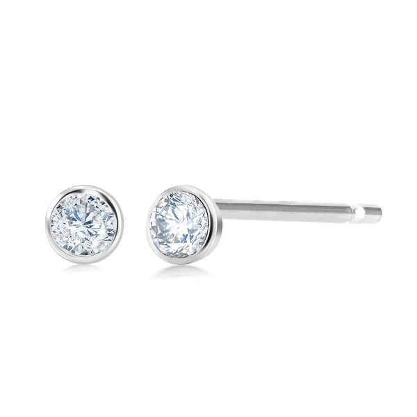 14 Karat Gold Bezel Set Tiny 0.10 Carat Diamond Stud Earrings - OGI-LTD
