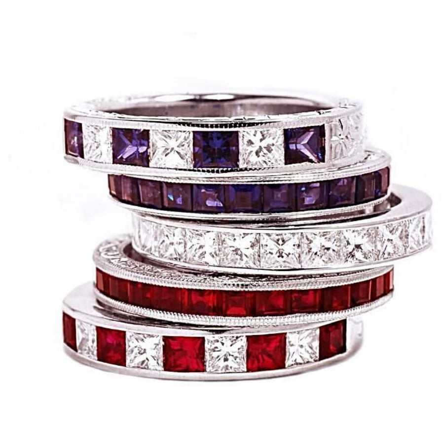 A White Gold Eternity Ring with Princess Cut Diamonds with Princess Cut Ruby