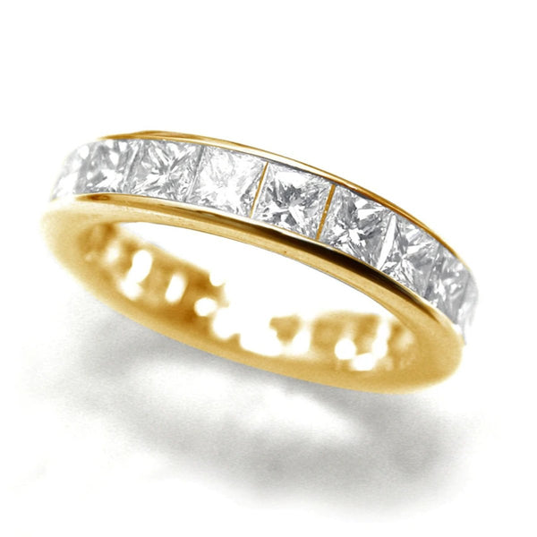 18 Karat Yellow Gold Princess Cut Diamond Partial 7 Stone Band Weighing 1.45 Carat
