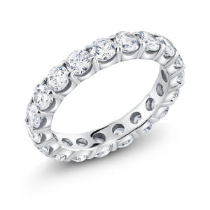 Platinum Round Diamond Eternity Prong Set Wedding Band - OGI-LTD