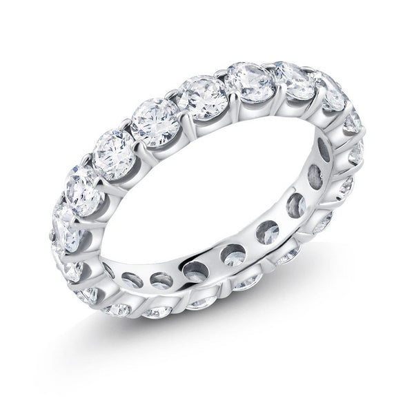Platinum 3.25 Carat Diamond Eternity Prong Set Wedding Band - OGI-LTD