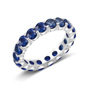 Platinum Sapphire Prong Set Eternity Ring Weighing 4.50 Carat - OGI-LTD