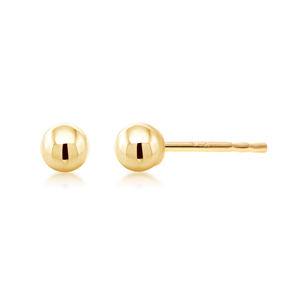 14 Karat Gold 3 Millimeter Ball Post Pair or One Stud Earrings - OGI-LTD