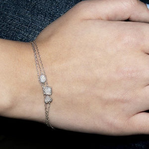 14k White Gold Heart Shape Diamond Bracelet