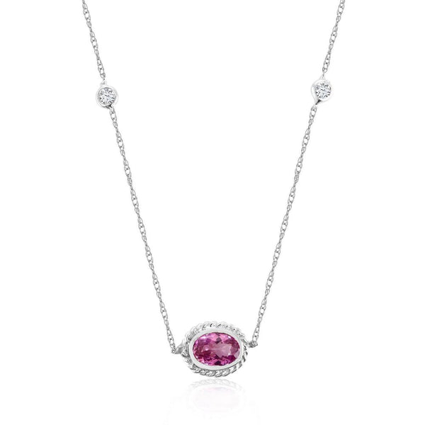 White Gold Pendant Necklace with Bezel-Set Pink Sapphire and Diamonds - OGI-LTD