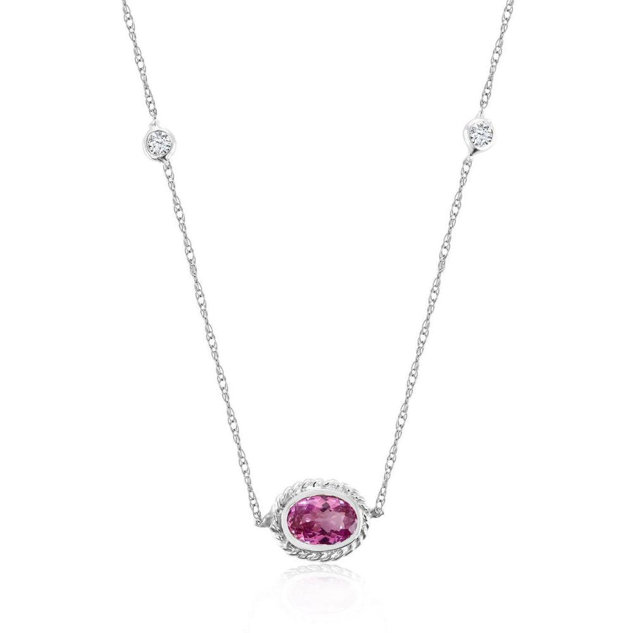 White Gold Pendant Necklace with Bezel-Set Pink Sapphire and Diamonds