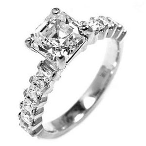 Platinum One Carat Asscher Engagement Ring with Princess Sides - OGI-LTD