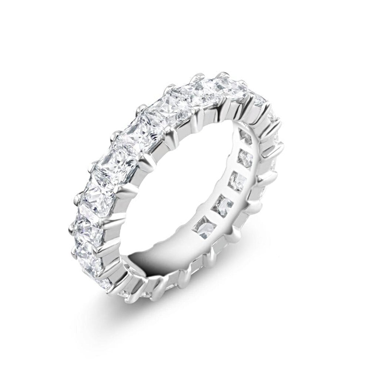 a white gold eternity prong set princess cut diamond wedding ring weighing 450 carats - Princess Cut Diamond Wedding Rings