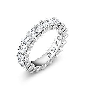 18 Karat Gold Prong Set Princess Cut Diamond Eternity Wedding Ring - OGI-LTD