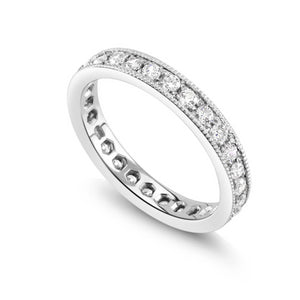 18 Karat Gold Diamond Pave Prong Eternity Wedding Ring - OGI-LTD
